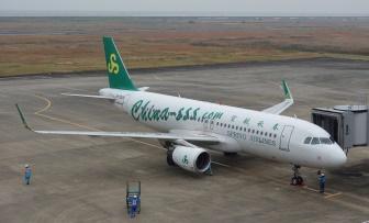 中国の大手LCC「春秋航空」の佐賀発上海行きの機体