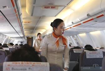 成田発仁川行きのチェジュ航空の機内