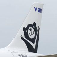 Vエアの機体に描かれたマスコットキャラクター「Vベア」