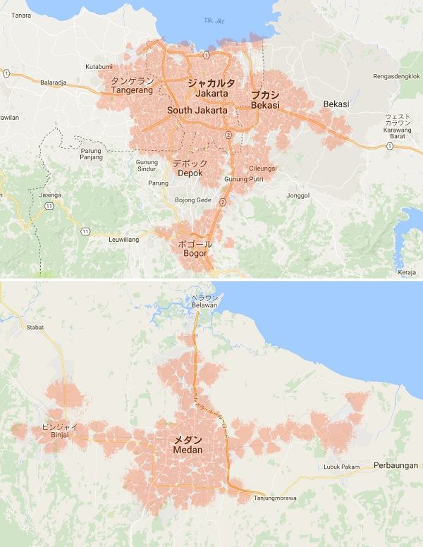 「BOLT!」のサービスエリアはジャカルタとメダン近郊のみ(2016年8月現在)