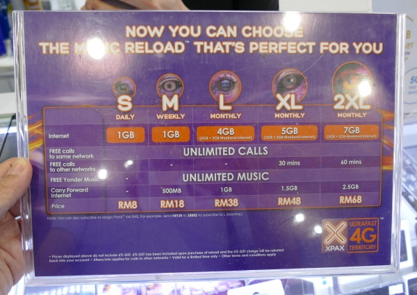 CelcomのプリペイドSIMブランド「XPAX」の料金プラン