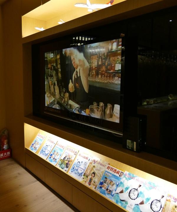 プライオリティパスで入れる桃園空港第一ターミナルのトランスアジア航空VIPラウンジ内に大画面TV