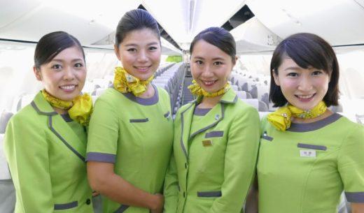 スプリングジャパン(春秋航空日本)の成田発新千歳行きIJ661便初便の客室乗務員
