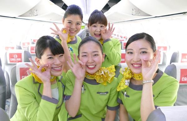 春秋航空日本IJ651便成田~関西の初便の客室乗務員