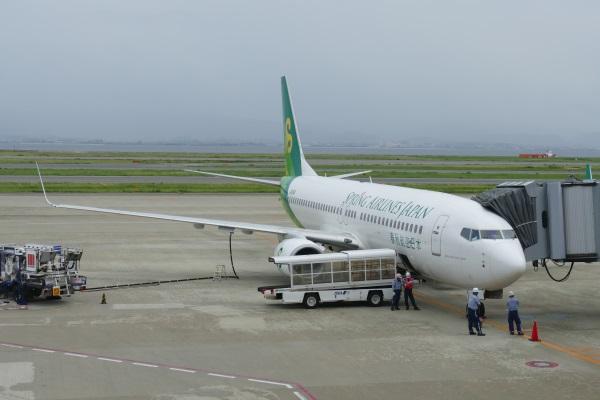 午後1時半 IJ651便が関西国際空港の駐機場に到着