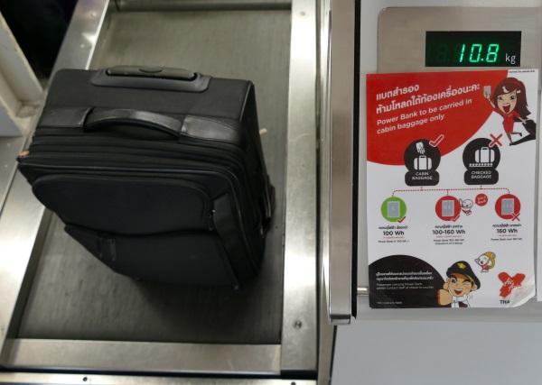 タイエアアジアXは機内に7キロまで無料で持ち込める(今回は30キロまで預け荷物無料のチケット)