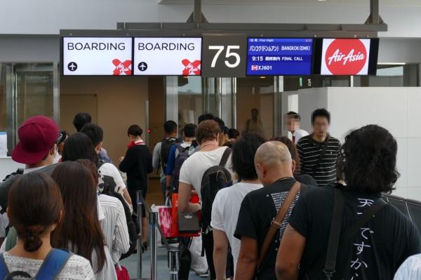 午前8時45分すぎ XJ601便の搭乗開始