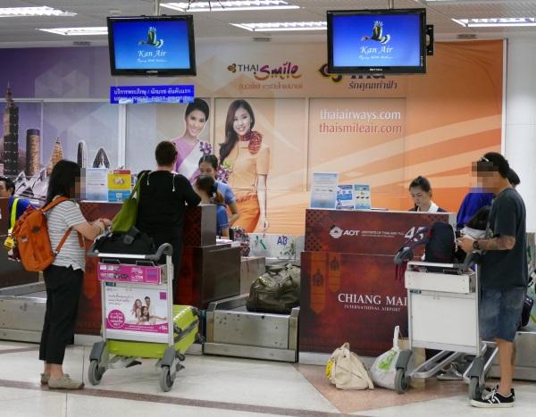 チェンマイ国際空港のカンエアーのチェックインカウンター