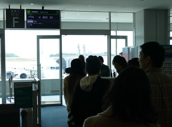 午前11時すぎ エアソウルRS731便の搭乗開始