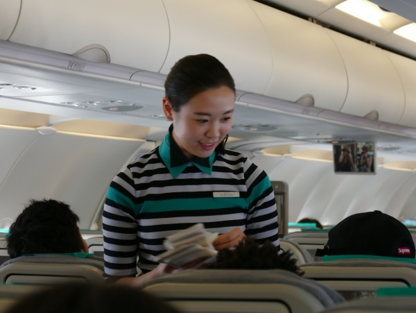 エアソウルの機内で最初に入国書類を配布