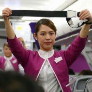 ピーチの羽田発上海浦東行きのMM1079便初便の客室乗務員
