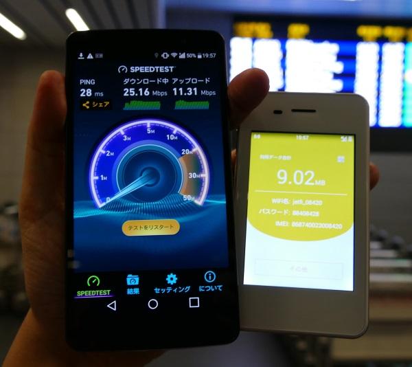 jetfiの台湾・台中空港の通信速度
