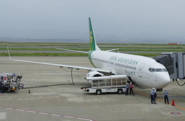 Spring Japan 春秋航空日本のB737型機(9月・関西空港にて)