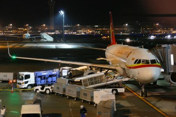 羽田空港に駐機する天津航空