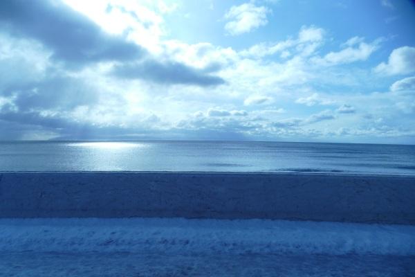 バスは美しい海岸線を走る
