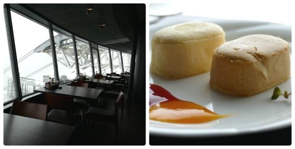 山頂2階の「レストラン ジェノバ」で函館銘菓の函館メルチーズのケーキセット(980円)も楽しめる