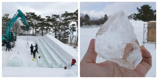 取材した日は2月4日・5日に開催された「大沼函館雪と氷の祭典」用の「氷のジャンボすべり台」の設営中だった