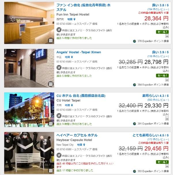 往復の航空券込みで3万円以内で収まる宿泊施設も