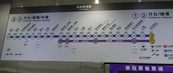桃園空港から台北駅までは大人片道160台湾ドル(約590円)