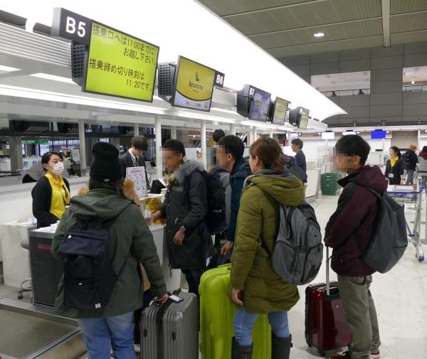 成田第2ターミナルB区画がLCCスクートのチェックインカウンター