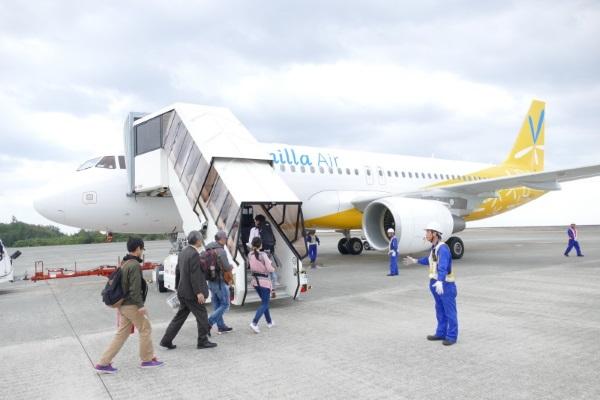 バニラエアの奄美大島~関西線の初便の機体(12号機)