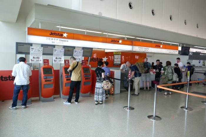 那覇空港国内線旅客ターミナルにあるジェットスター・ジャパンのチェックインカウンター