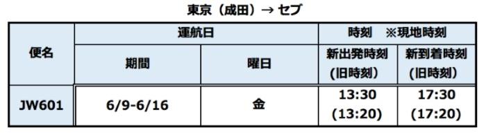 バニラエアの成田→セブのスケジュール変更対象・新時刻