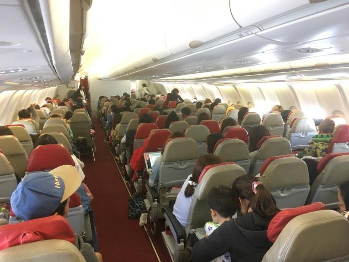 インドネシア・エアアジアXの機内後方部