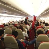 エアアジアXの関西~ホノルル線の初便D7001便の機内