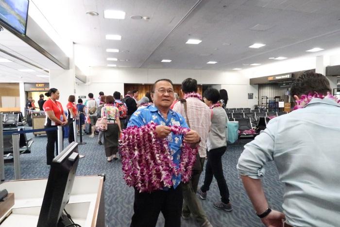 ダニエル・K・イノウエ国際空港の歓迎の様子