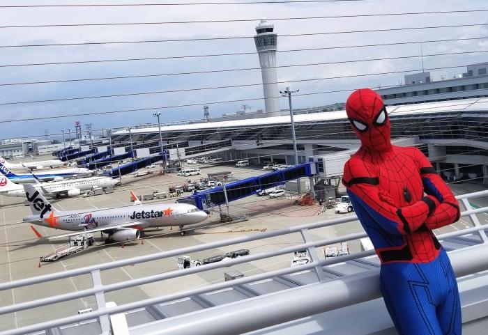 2017年7月にセントレアで行われたジェットスター・ジャパンとスパイダーマンのコラボイベント