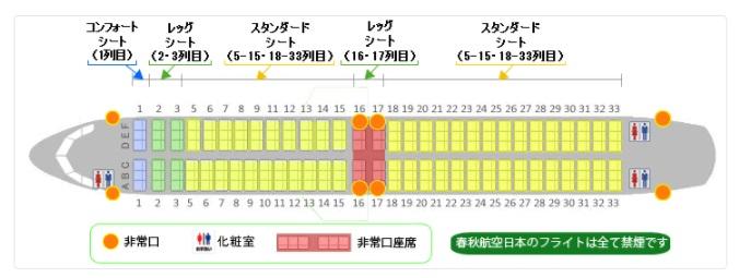 春秋航空日本(Spring Japan)の機内の座席図(公式HPより)