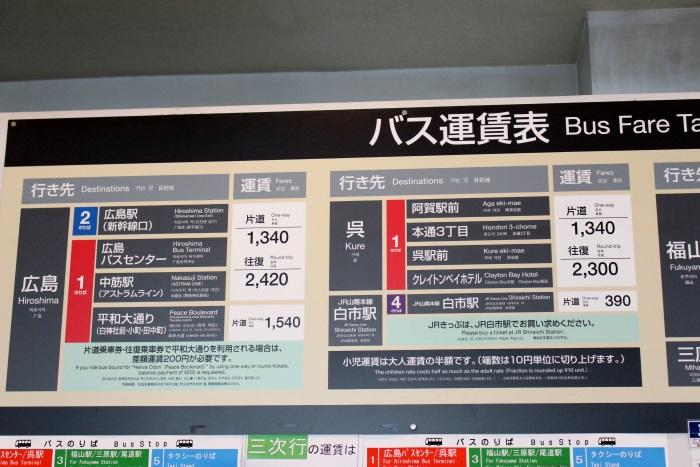広島行き・呉行きの空港リムジンバスの運賃表