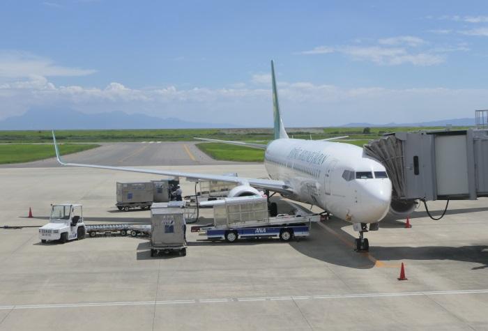 九州佐賀国際空港に到着したLCC春秋航空日本(Spring Japan)の飛行機