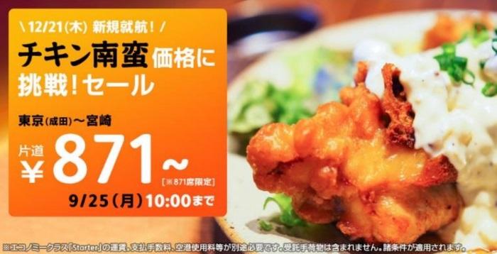 宮崎線新規就航を記念した「チキン南蛮価格に挑戦!セール」の案内