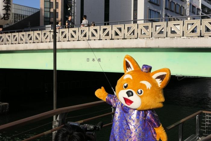 大阪・道頓堀に架かる日本橋(にっぽんばし)にジェットスター公式キャラクターのジェッ太が登場!
