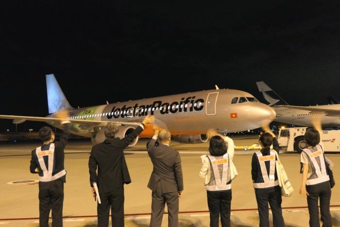 ジェットスター・パシフィック航空のハノイ行きの初便が関西空港を出発