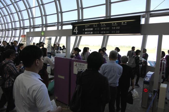 午前9時50分すぎ MM413便 新千歳行きの初便の搭乗開始