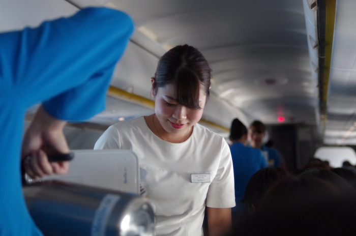 機内販売のサービスを提供するJW601便のFA