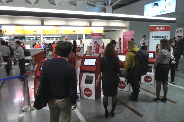 セントレア国内線出発フロアのエアアジア・ジャパンのチェックインカウンター
