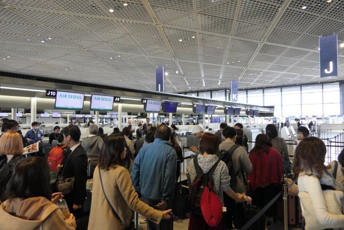 成田空港第1ターミナルのエアソウルのチェックインカウンター