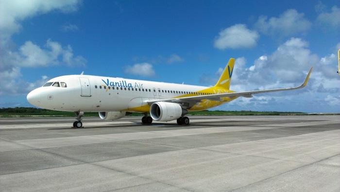 下地島空港に到着したバニラエアの機体(JA09VA)