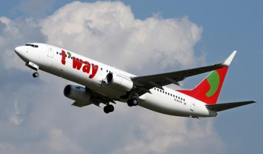 2017年11月15日から運賃オプションが追加されるLCCティーウェイ航空の機体