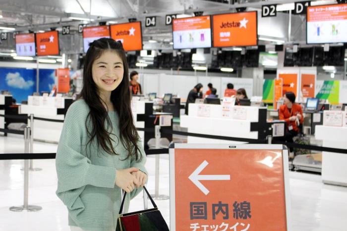 成田空港第3ターミナルを使用するLCCジェットスターグループのチェックインカウンター