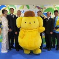 奄美市AiAiひろばで開催したポムポムプリンのホームステイ開始記念式典